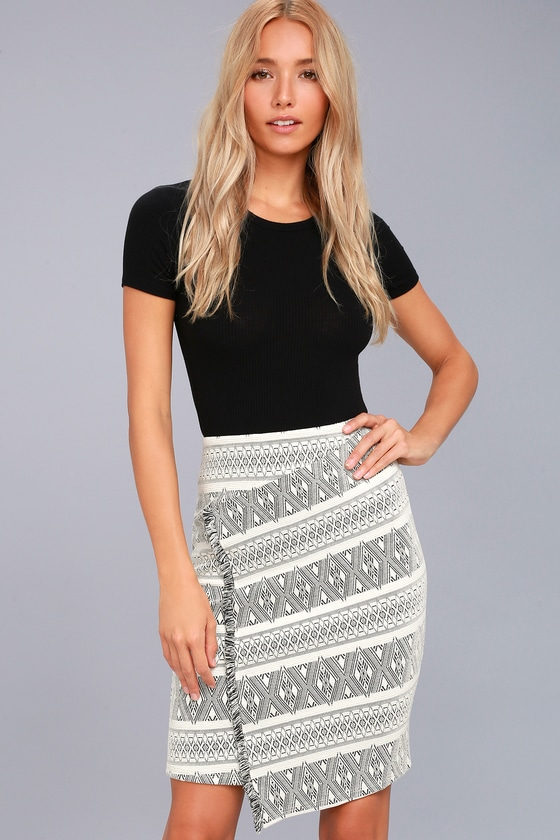 Three Little Birds Black and Cream Print Pencil Skirt 1
