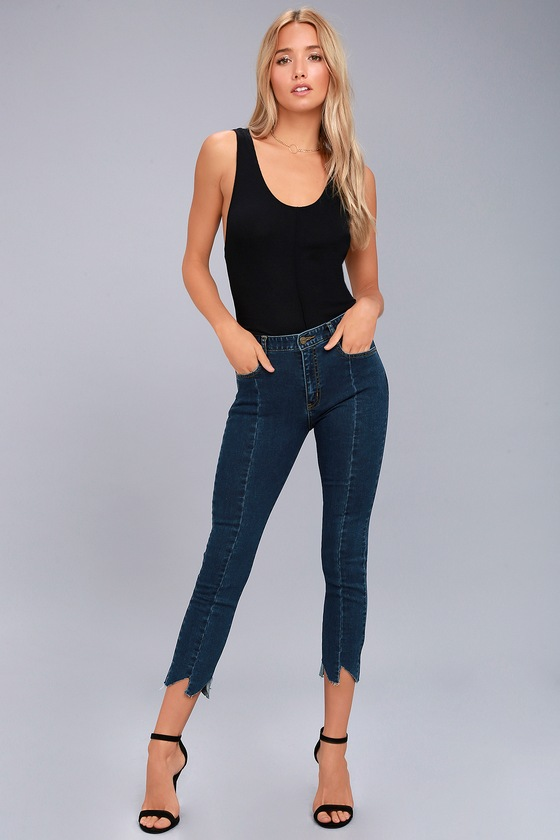 EVIDNT Hermosa Medium Wash Cropped Skinny Jeans 1