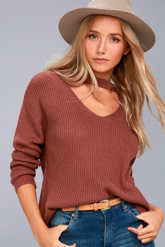 Lost + Wander Madison Washed Mauve Cutout Sweater 3