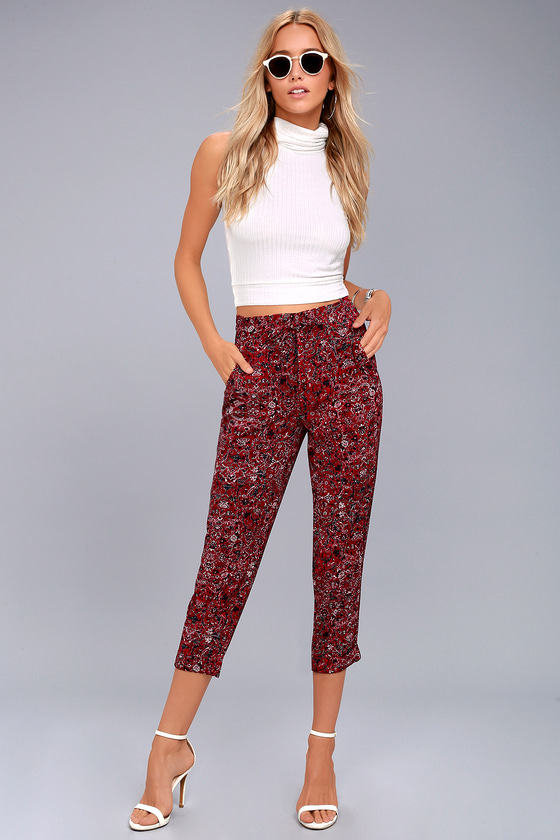 Tavik Nori Wine Red Print Cropped Pants 1