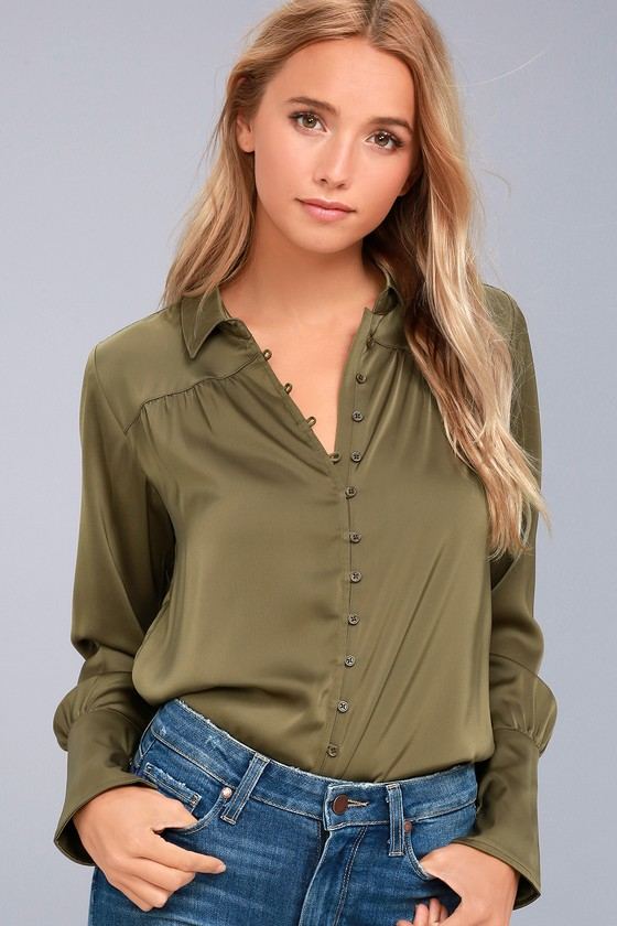8ed854e4d598a Black Swan Tess - Olive Green Satin Top - Button-Up Top