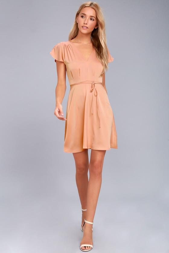 b49b8bcc04 Black Swan Layla Dress - Blush Satin Dress - Skater Dress