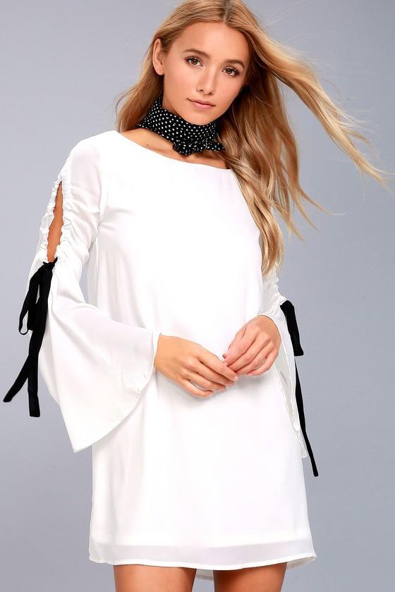 Cherish White Long Sleeve Shift Dress 1