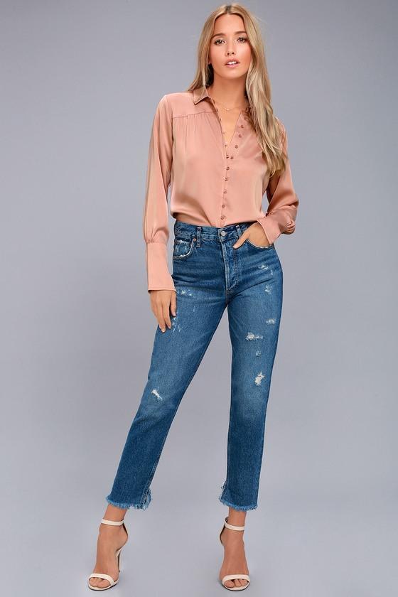 668218718 Black Swan Tess - Blush Pink Satin Top - Button-Up Top