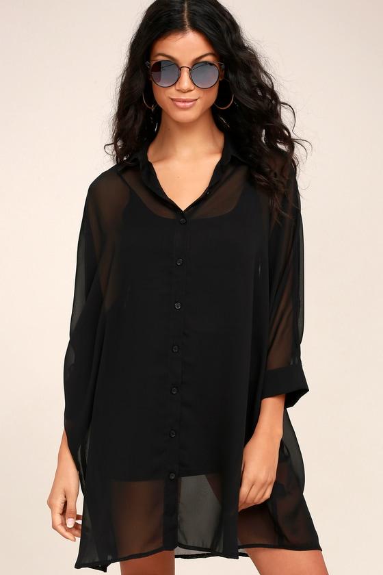 aab8424eb5 Cute Sheer Shirt Dress - Black Shirt Dress