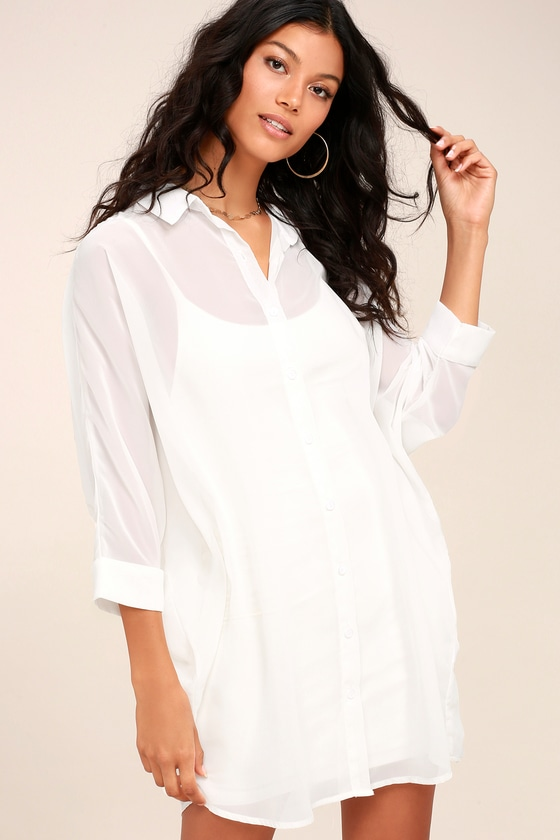 Cute Sheer Shirt Dress - White Shirt Dress