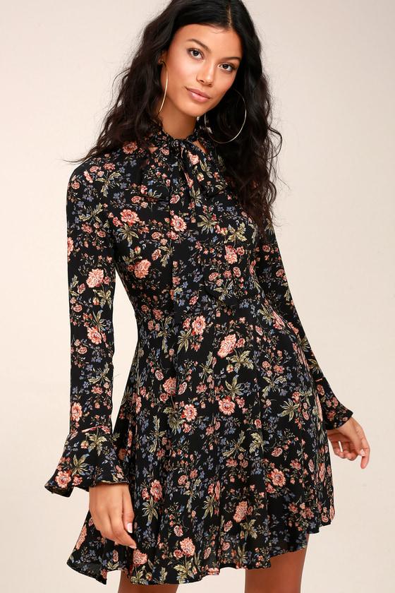 11f67efb937 Cute Black Floral Print Dress - Tie-Neck Dress