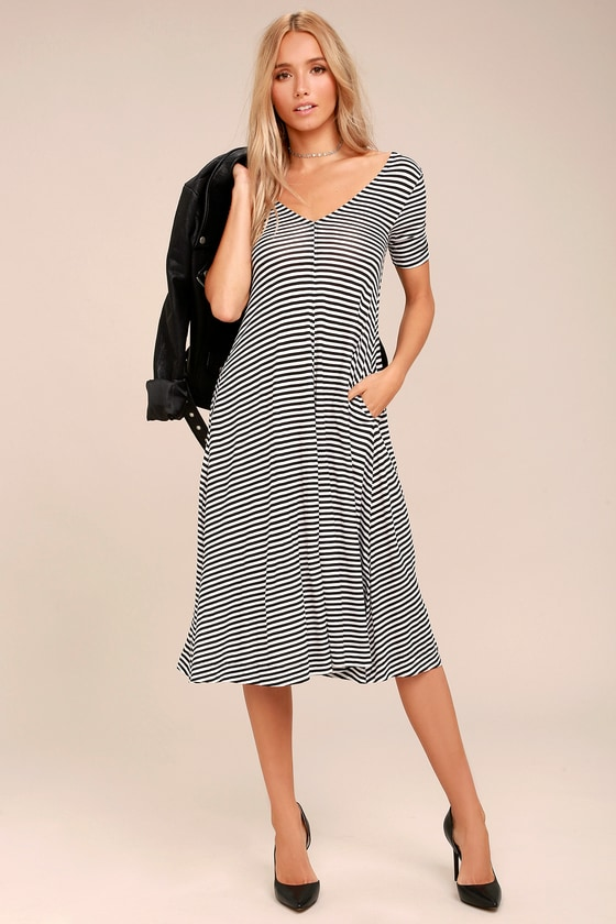 Cheap Monday Disown Black and White Striped Midi Swing Dress 3