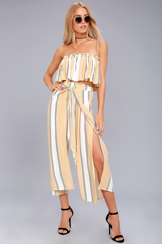Faithfull the Brand Sands Island Beige Striped Pants 3