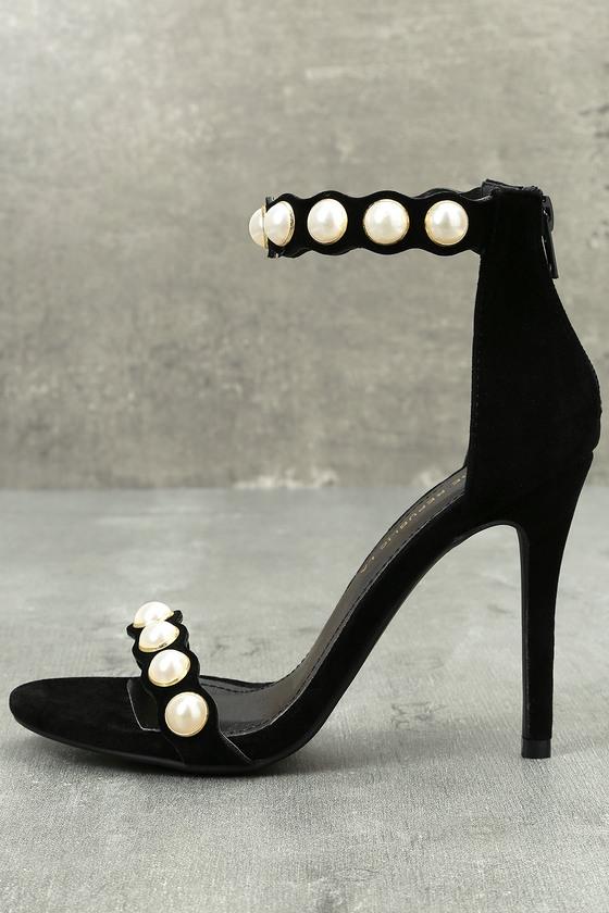 Pearla Black Suede Pearl Ankle Strap Heels 1
