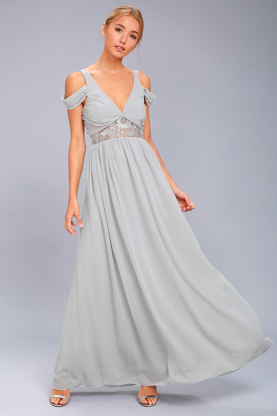 4bf8759a393c Grey Maxi Dress - Off-the-Shoulder Dress - Lace Dress - Gown