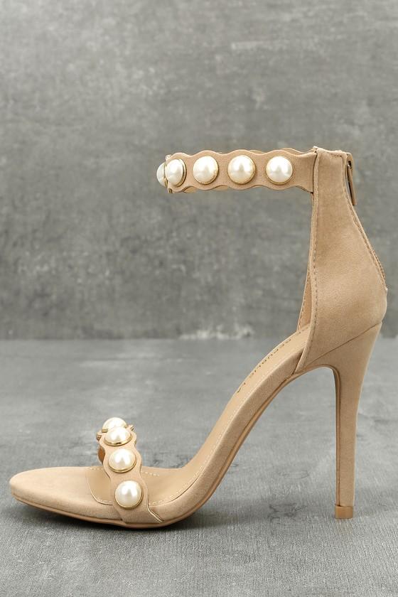 Pearla Nude Suede Pearl Ankle Strap Heels 1