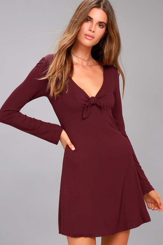 Lucy Love Kelly Taylor Burgundy Long Sleeve Knot Dress 2