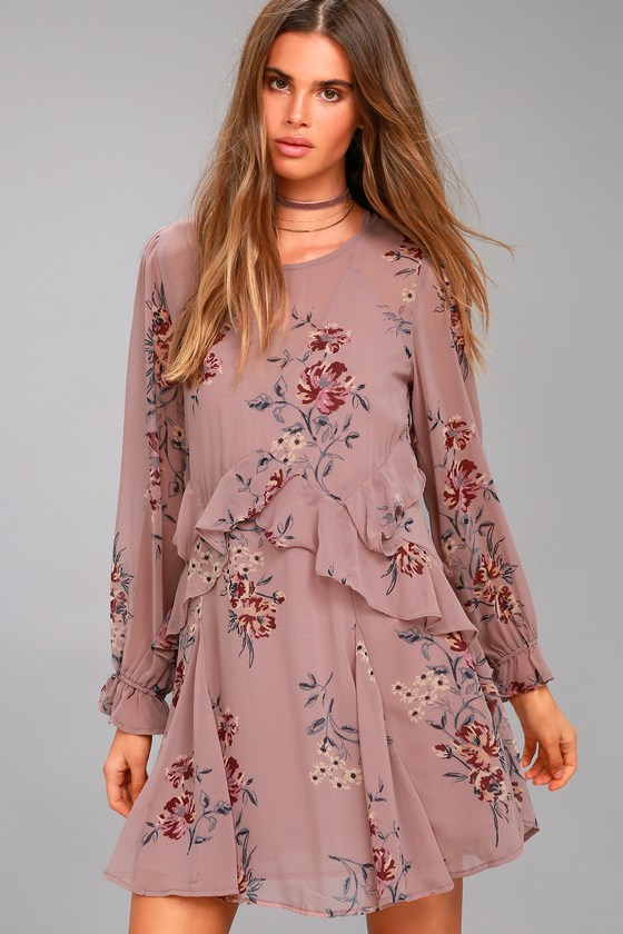 ASTR the Label Heather Mauve Floral Print Long Sleeve Dress 1