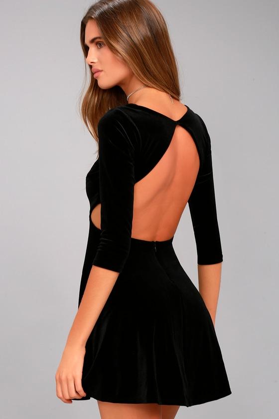 Charisma and Charm Black Velvet Backless Dress 2