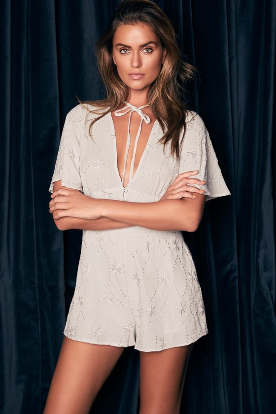 Lost + Wander Willow Light Grey Embroidered Romper 5