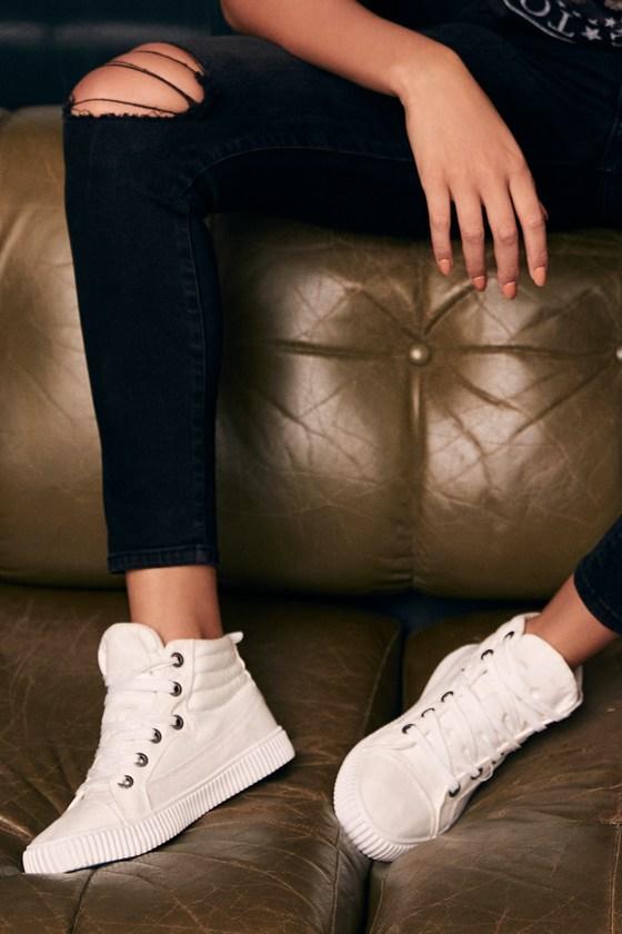 b526c512bf4 Blowfish Crawler - White Canvas Sneakers - High Top Sneakers -  39.00