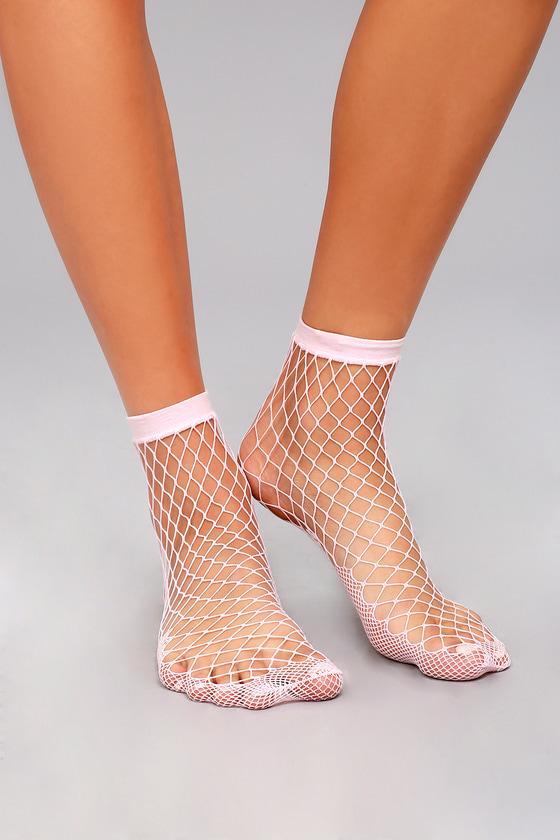 22e337d2f2fa5 Free People Sugar Sugar Socks - Pink Fishnet Socks