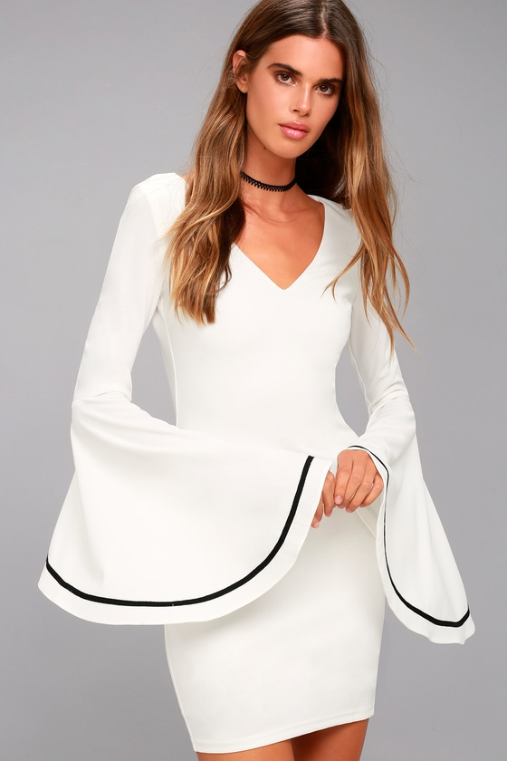 Most Beloved White Bell Sleeve Bodycon Dress 1