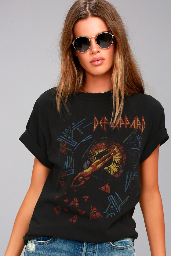 Junk Food Def Leppard Hysteria Washed Black Tee 2