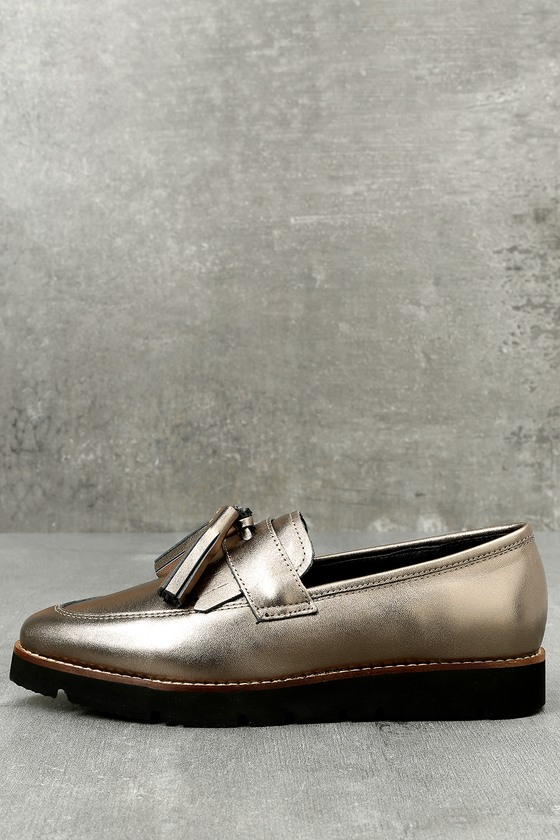 Steven by Steve Madden Naomie Pewter Leather Pointed Toe Loafers 1