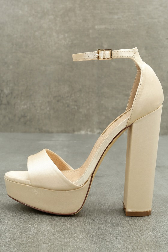 46f01a8f587 Sexy Champagne Heels - Satin Heels - Platform Heels
