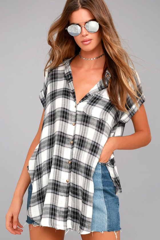 Here We Go Black Plaid Button-Up Top 1
