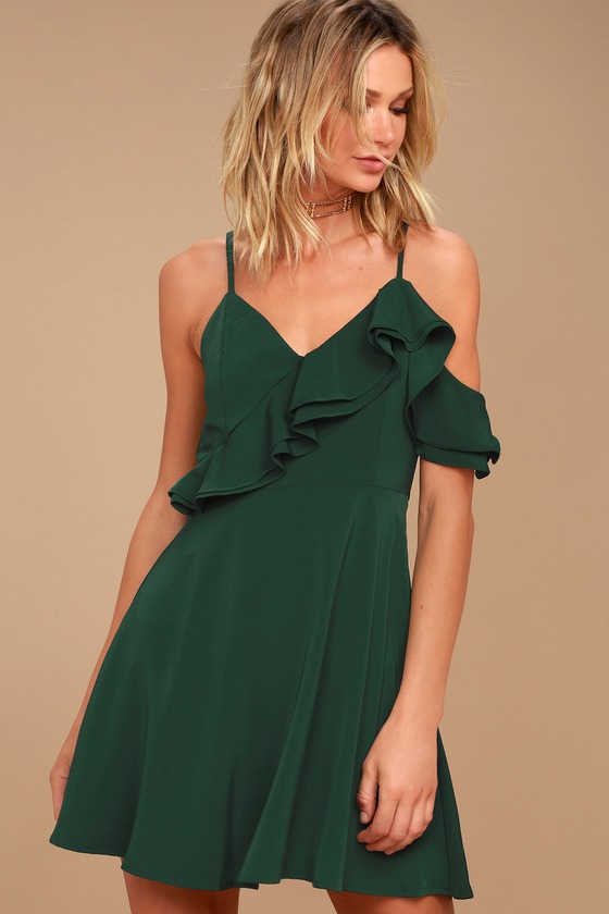 J.O.A. Henriette Forest Green Skater Dress 3