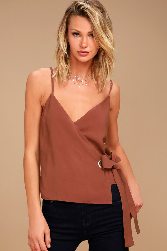 J.O.A. Reine Washed Burgundy Wrap Top 2