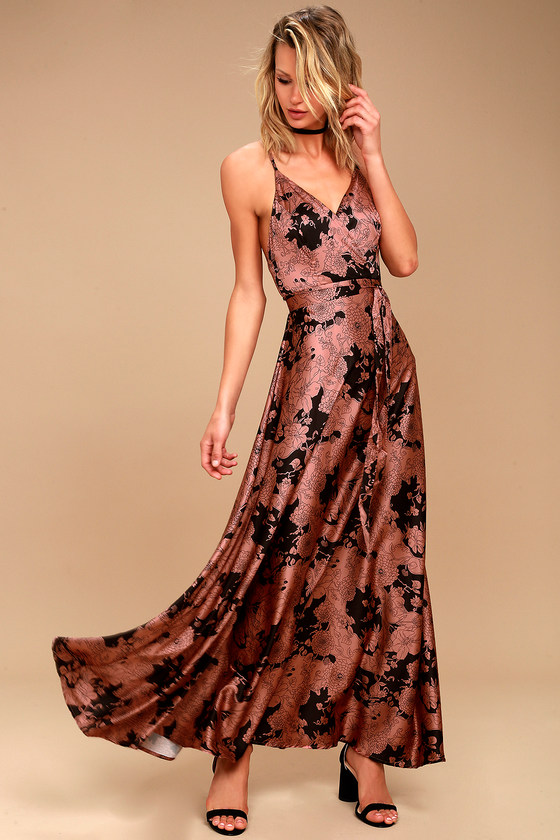 6de2d416107 Sexy Satin Maxi Dress - Floral Print Maxi - Rusty Rose Dress
