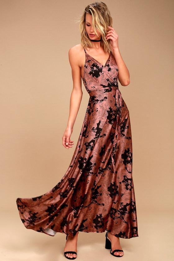 Tea Gardens Rusy Rose Floral Print Satin Maxi Dress 1