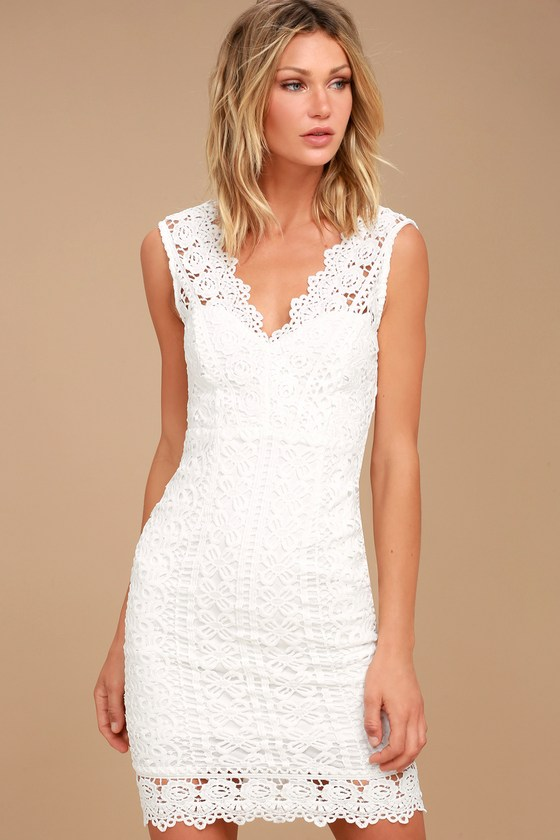 Chic White Dress Lace Dress Midi Dress Lwd
