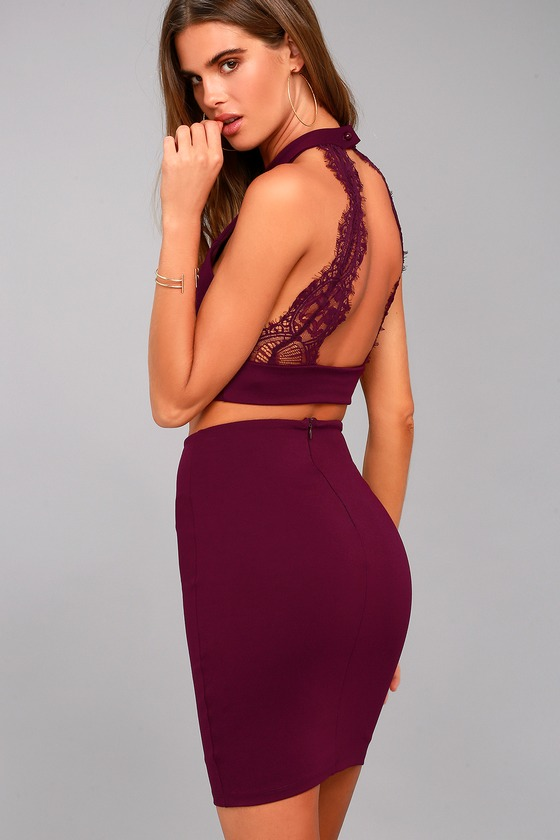 Chic My Interest Burgundy Lace Two-Piece Dress 5