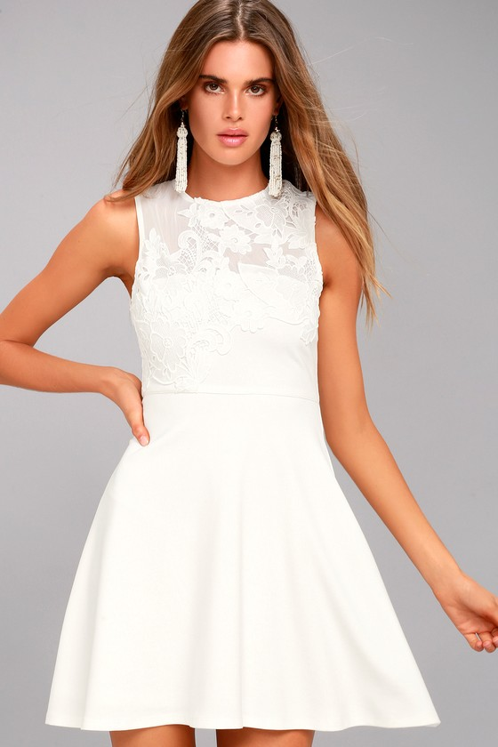 doily darling white lace skater dress 4