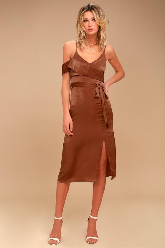 J.O.A. Anouk Rust Orange Satin Midi Dress 1