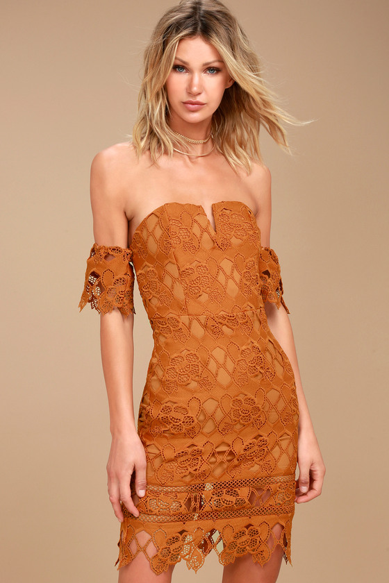 J.O.A. Kyler Burnt Orange Lace Off-the-Shoulder Dress 1