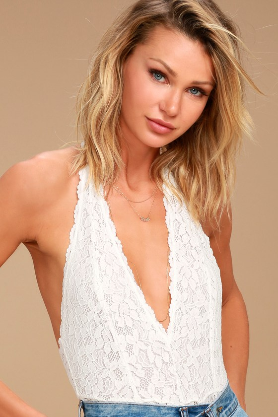 Free People Avery White Lace Bodysuit 1
