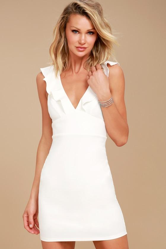White bodycon dress with ruffles dillards