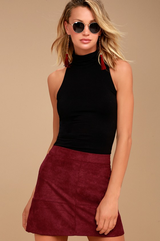 Shenandoah Burgundy Suede Mini Skirt 3