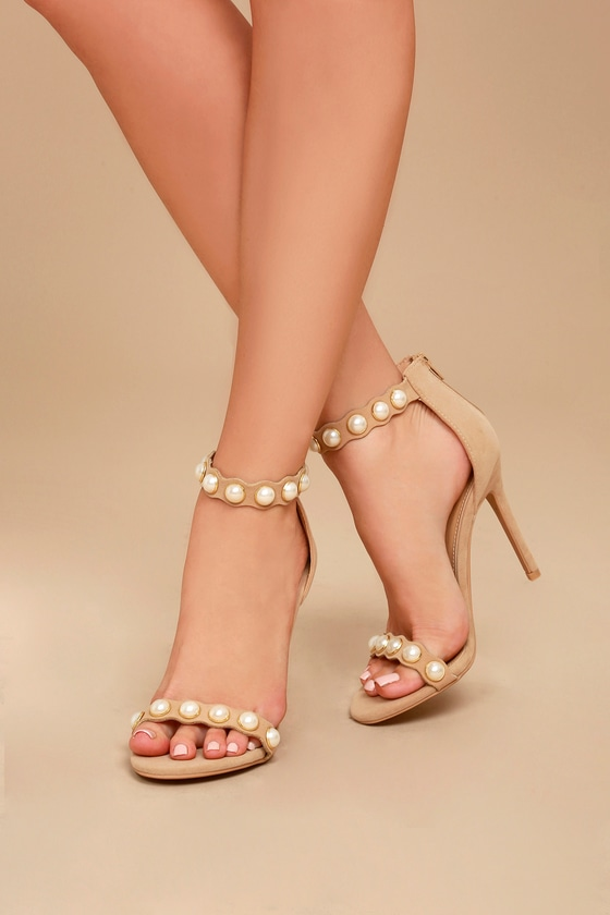 Pearla Nude Suede Pearl Ankle Strap Heels 4