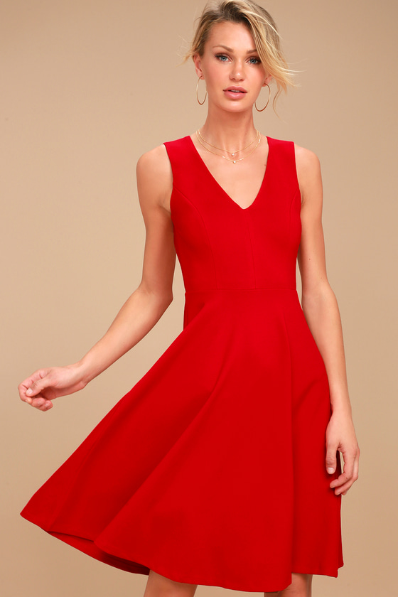 Hello World Red Midi Dress 3