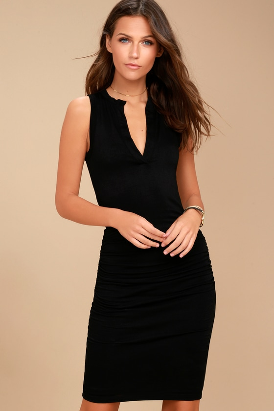 Hopes and Dreams Black Sleeveless Midi Dress 2