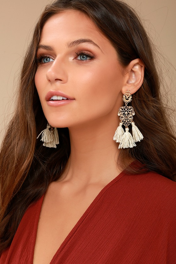 Island Dreams Gold and Ivory Tassel Earrings 2