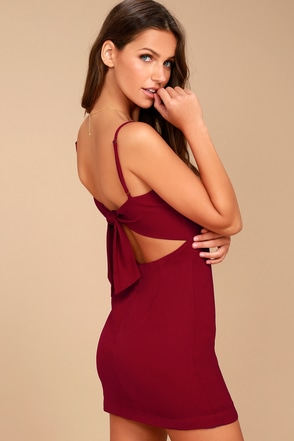 e9883910d9e3 Cute Red Dress - Mini Dress - Tie-Back Dress - Sheath Dress