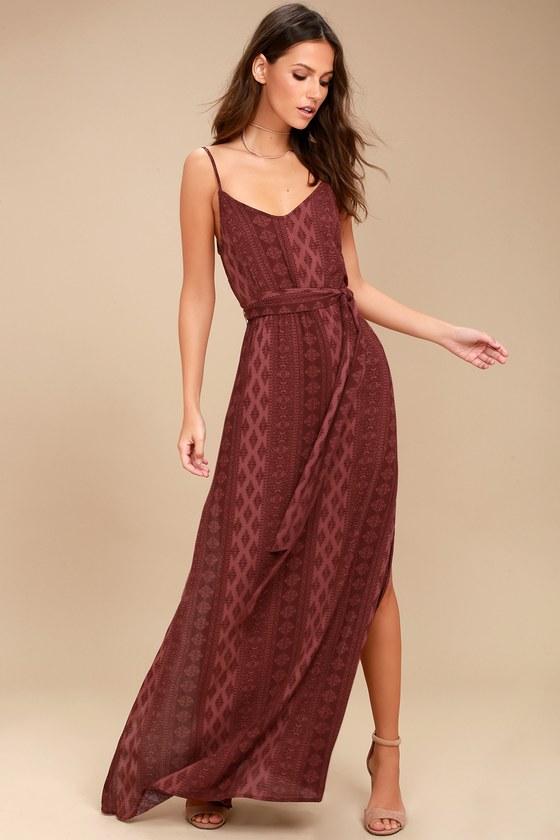 Malibu Baby Burgundy Print Maxi Dress 1