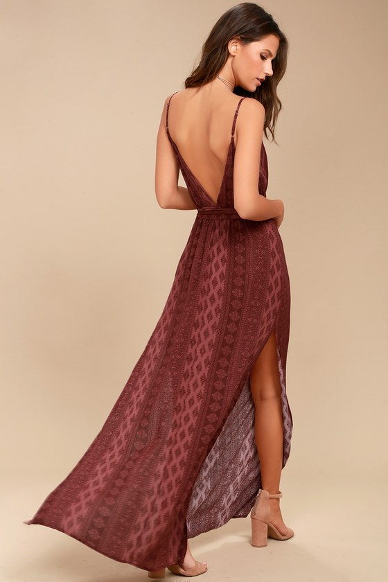 e3102675c816 Boho Maxi Dress - Open-Back Dress - Burgundy Dress