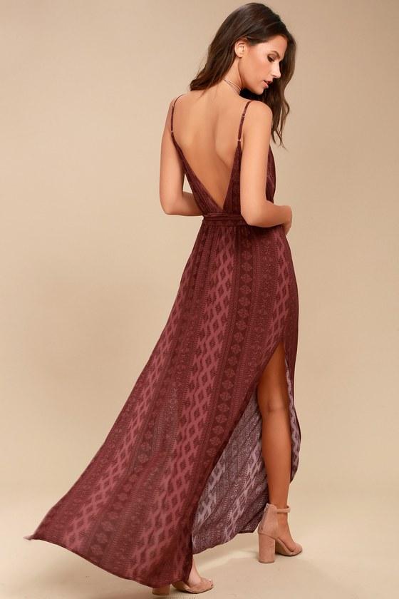 Malibu Baby Burgundy Print Maxi Dress 2