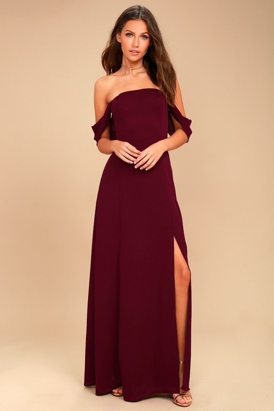 J.O.A. Veronique Burgundy Off-the-Shoulder Maxi Dress 1