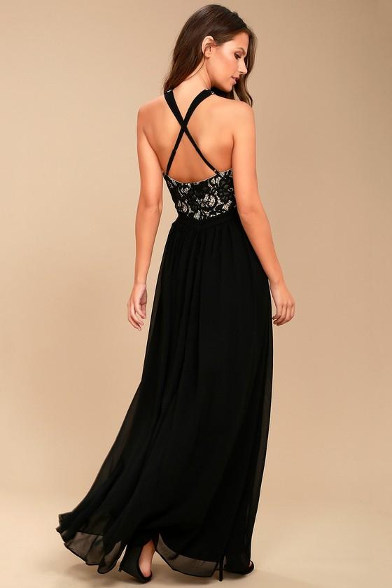 Unforgettable Evening Black Lace Maxi Dress 3