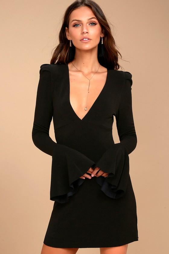Free People Talk About It Black Long Sleeve Dress 1